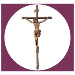 Croix en bronze avec Christ 47cm