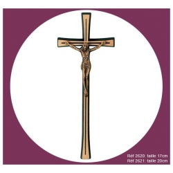 Croix en bronze avec Christ 17cm
