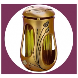 """Lanterne série """"VENUS"""" 18cm avec fleur Or"""